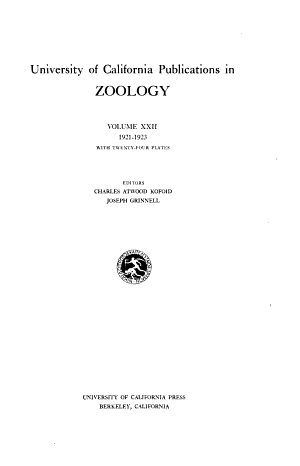University of California Publications in Zoology