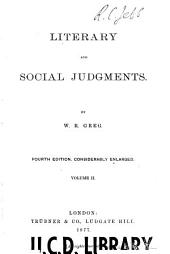 Literary and Social Judgments: Volume 2
