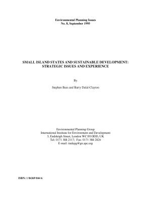 Small Island States and Sustainable Development PDF