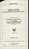Legislative History  District of Columbia Statehood Constitutional Convention PDF