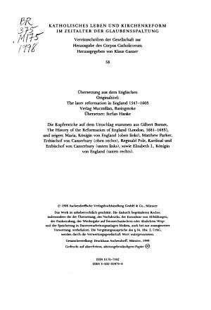 Die zweite Phase der englischen Reformation  1547 1603  und die Geburt der anglikanischen via Media PDF