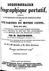 Dictionnaire géographique portatif, contenant la description générale et particulière des cinq parties du monde connu: Partie1
