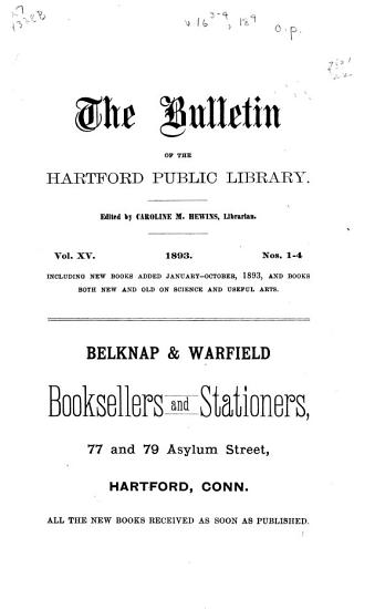 The Bulletin of the Hartford Public Library PDF