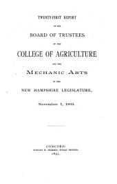 Report of the Board of Trustees of the College of Agriculture and Mechanic Arts to the New Hampshire Legislature