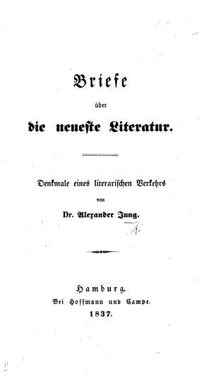 Briefe   ber die neueste Literatur  Denkmale eines literarischen Verkehrs PDF