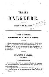 Traité d'algèbre: Volume2