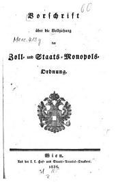 Vorschrift über die Vollziehung der Zoll- und Staats-Monopols-Ordnung