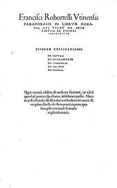 Paraphrasis in librum Horatii de Arte Poetica