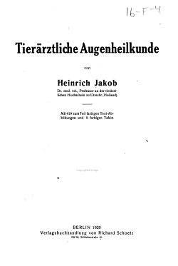Tier  rztliche Augenheilkunde PDF