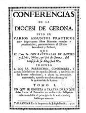Conferencias de la Diócesis de Gerona... sobre matérias morales y prudenciales pertenecientes al estado sacerdotal y pastoral