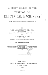 A Short Course in the Testing of Electrical Machinery for Non electrical Students PDF