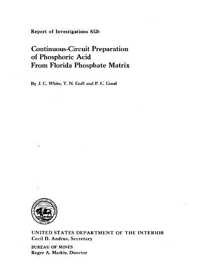 Continuous circuit Preparation of Phosphoric Acid from Florida Phosphate Matric PDF