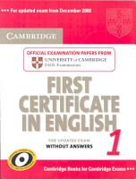 Cambridge Grammar for First Certificate Without Answers PDF