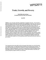 Trade  Growth  and Poverty PDF