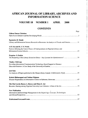 African Journal of Library  Archives   Information Science PDF