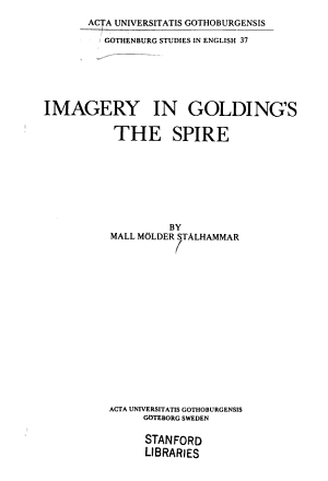 Imagery in Golding s The Spire PDF