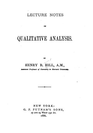 Lecture Notes on Qualitative Analysis
