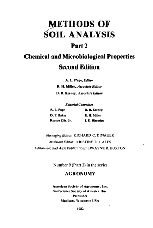 Methods of Soil Analysis  Microbiological and biochemical properties PDF