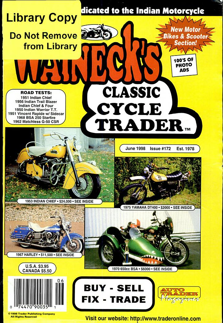 WALNECK'S CLASSIC CYCLE TRADER, JUNE 1998