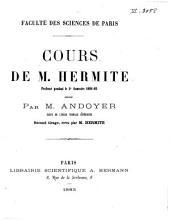 Cours de m. Hermite: professé pendant le 2e semestre, 1881-82
