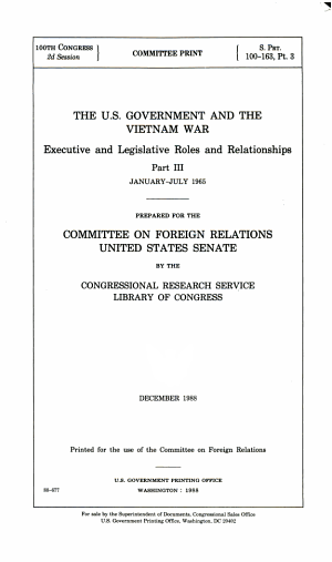 The U.S. Government and the Vietnam War