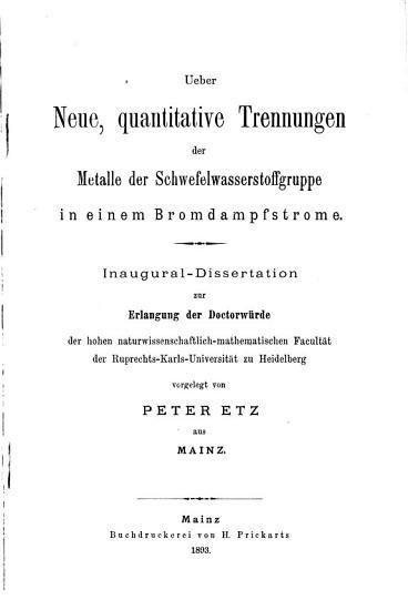 Ueber neue  quantitative trennungen der metalle der schwefelwas    PDF