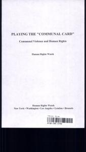 "Playing the ""communal Card"": Communal Violence and Human Rights"