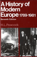 A History of Modern Europe  1789 1981 Book