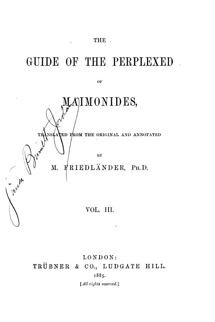 The Guide of the Perplexed of Maimonides