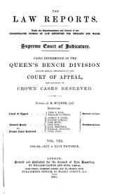 The Law Reports. Queen's Bench Division: Volume 8