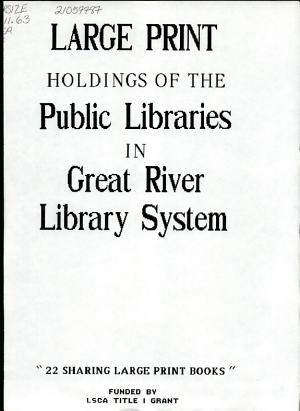 Large Print Holdings of the Public Libraries in Great River Library System PDF