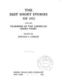 The Best Short Stories of     and the Yearbook of the American Short Story PDF