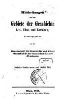 Mitteilungen aus dem Gebiete der Geschichte Liv   Est  und Kurlands PDF