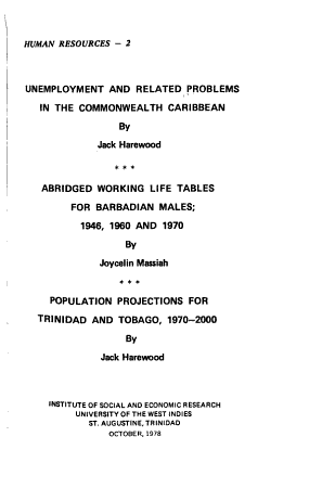 Unemployment and Related Problems in the Commonwealth Caribbean PDF