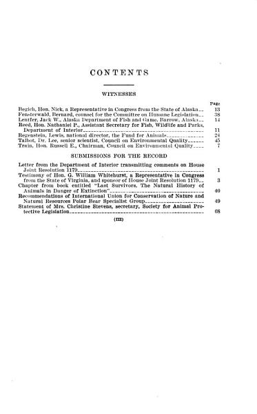 Moratorium on the Killing of Polar Bears  Hearing Before the Subcommittee on International Organizations and Movements     92 2  on H J Res  1179     July 26  1972
