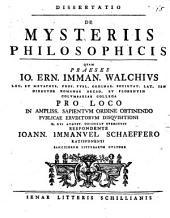 Diss. de mysteriis philosophicis