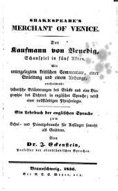Merchant of Venice: Der Kaufmann Von Venedig, Schauspiel in Fünf Akten