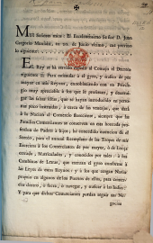 Mui senores mios ... El Rey se ha servido, etc. [Decree exempting merchants, brokers, etc., from the conscription. 30 March, 1771.]