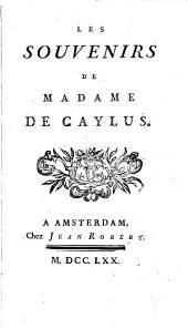 Les souvenirs de madame de Caylus