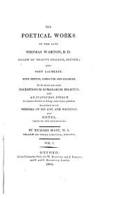 The Poetical Works of the Late Thomas Warton, B. D..