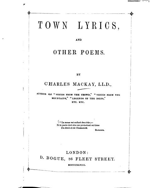 Download Town Lyrics  and Other Poems     Book