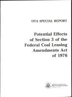 Potential Effects of Section 3 of the Federal Coal Leasing Amendments Act of 1976