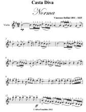 Casta Diva Norma Easy Violin Sheet Music
