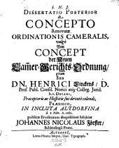 De concepto renovatae ordinationis cameralis vulgo Von Concept der Neuen Kammer-Gerichts- Ordnung; resp. Joh. Stuhr et Joh. Nicol. Förster. - Altdorffi, Meyer 1681-82