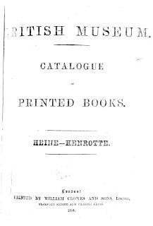 Catalogue of Printed Books in the Library of the British Museum Book
