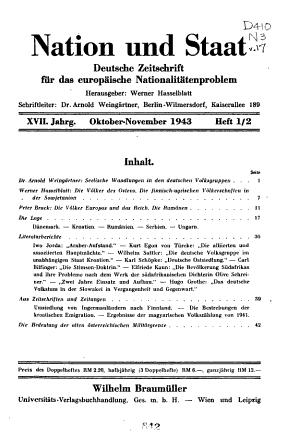 Nation und Staat  deutsche Zeitschrift fur das europaische minoritatenproblem PDF