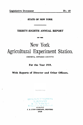 Annual Report of the New York Agricultural Experiment Station: Issue 38