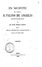 In morte del canonico d. Palino De Angelis discorso