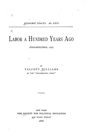Labor a Hundred Years Ago