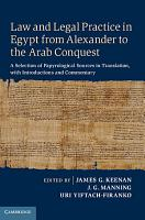 Law and Legal Practice in Egypt from Alexander to the Arab Conquest PDF